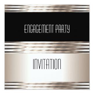 Invitation Engagement Party Art Deco Cream Black