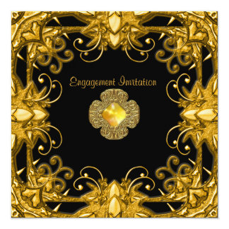 Invitation Engagement Zizzago Black Gold Antique 2