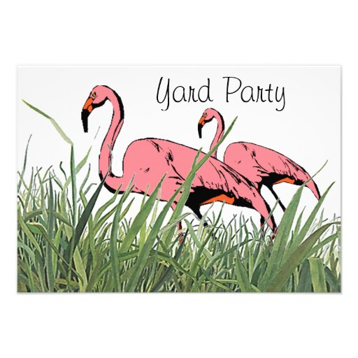 Invitation Flamingos Yard birds Backyard Party fun