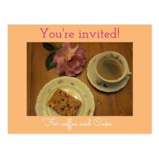 Invitation for coffee & cake postcard