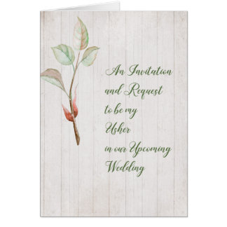 Invitation for Usher Card Faux Wood & Plant Sprig.