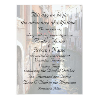 Invitation for Venice Themed Wedding