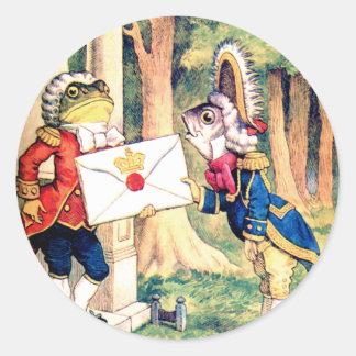 Invitation from the Queen of Hearts in Wonderland Round Sticker