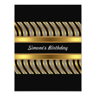 Invitation Gold Grey Black Metal Birthday Party