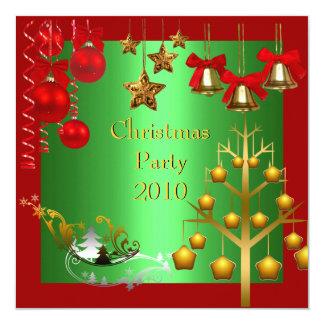 Invitation Holiday  Christmas Party Red Gold Xmas Invitation