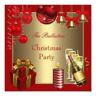 Invitation Holiday  Christmas Party Red Gold Xmas Custom Invitations