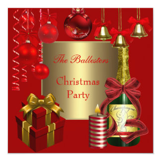 Invitation Holiday  Christmas Party Red Gold Xmas Personalized Announcement