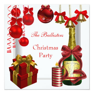 Invitation Holiday Christmas Party Red White Gold