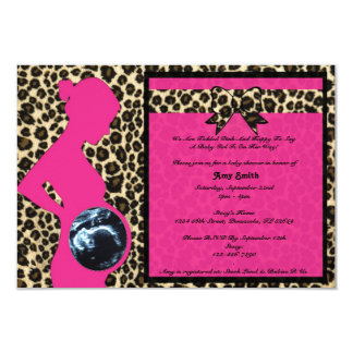 Invitation - Hot Pink Leopard Baby Shower Sonogram