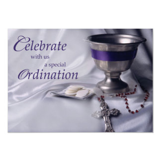 Invitation Ordination Chalice, Host, Rosary