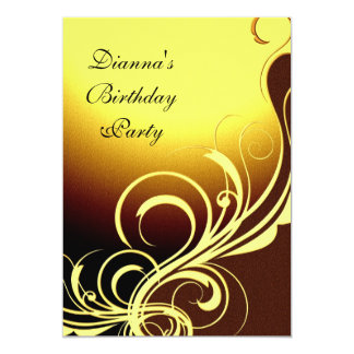 Invitation Party Elegant Yellow Gold Brown Floral