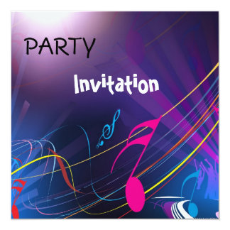 Invitation Party Music Notes Blue