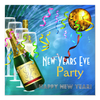 Invitation Party New Years Eve Blue Gold