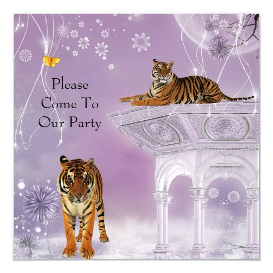 Invitation Party Tigers in Flowerworld