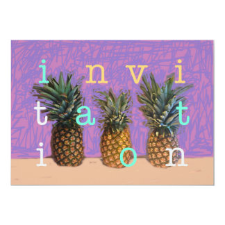 Invitation pineapples tropical caribbean theme