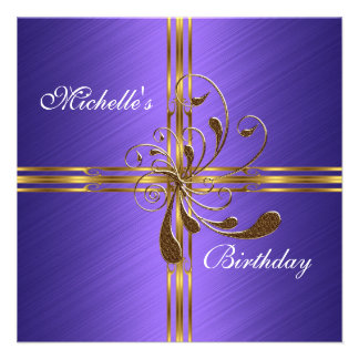 Invitation Purple Gold Abstract Invites