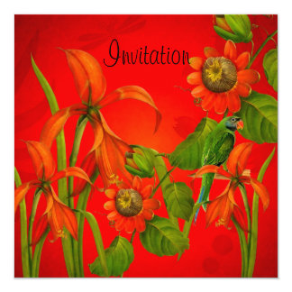 """Invitation Red Flowers Parrot 5.25"""" Square Invitation Card"""