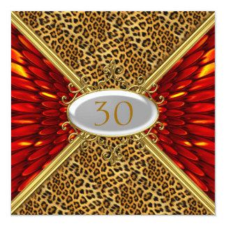 Invitation Red Leopard skin Birthday Anniversary