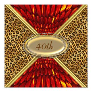 """Invitation Red Leopard skin Birthday Anniversary 5.25"""" Square Invitation Card"""
