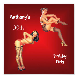 Invitation red Pin-up Girls Birthday Party