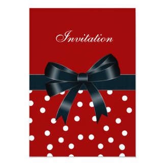 Invitation Red White Spots Black Bows