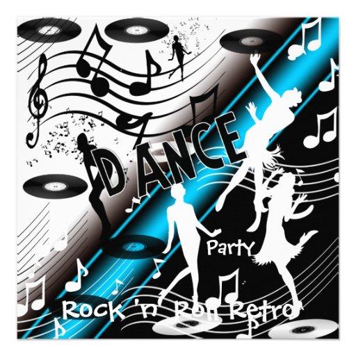 Invitation Rock 'n' Roll Retro Dance Party Custom Invitations