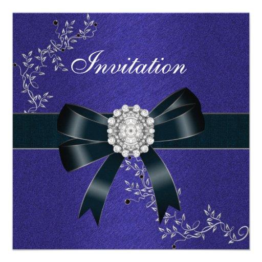Invitation Royal Blue Diamond Jewel Black Bow Announcements