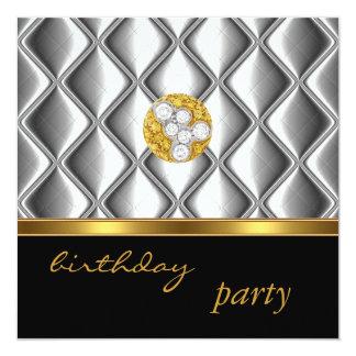 """Invitation Silver  Gold Tile Trim On Black Diamond 5.25"""" Square Invitation Card"""