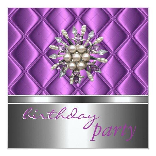 Invitation Silver Mauve Purple Crystal Jewel