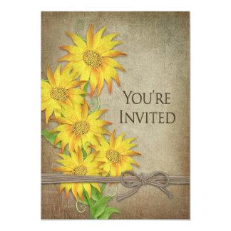 INVITATION - SUNFLOWERS - BROWN TEXTURED