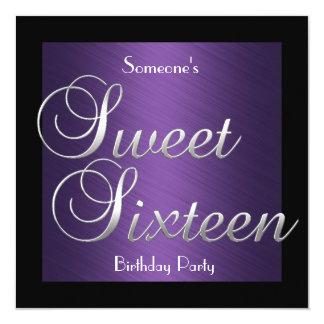 Invitation Sweet 16 Birthday Purple Black Silver