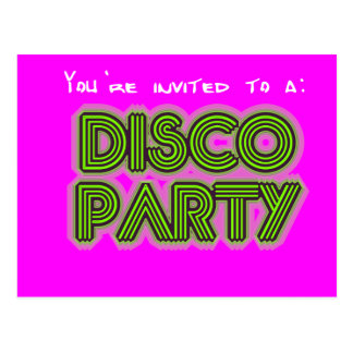 Invitation to a disco party postcard