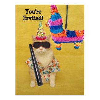 Invitation to Birthday with Pinata! Postcard