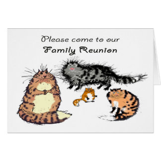 Invitation to family reunion, cat family. greeting card
