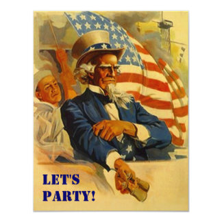 Invitation Uncle Sam Independence Day 4th of July