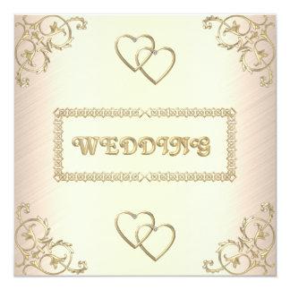 """Invitation Wedding Cream with Gold Trims 5.25"""" Square Invitation Card"""