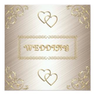 "Invitation Wedding Off White with Gold Trims 5.25"" Square Invitation Card"