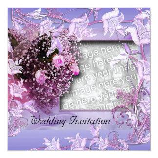 "Invitation Wedding Purple Photo Floral Frame 5.25"" Square Invitation Card"