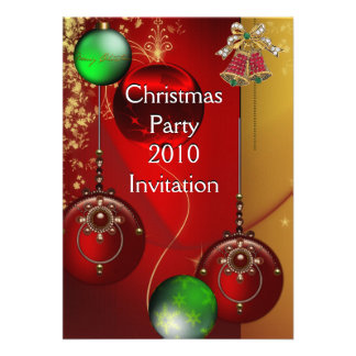 Invitation Xmas Party Christmas Red Green Balls Personalized Announcement