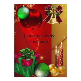 Invitation Xmas Party Christmas Red Green Balls Personalized Invitations
