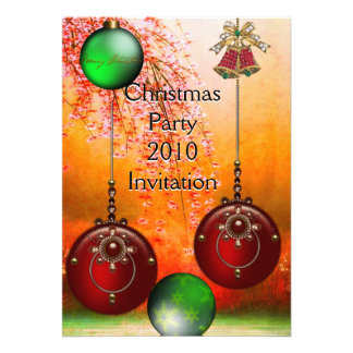 Invitation Xmas Party Christmas Red Green Balls Announcements
