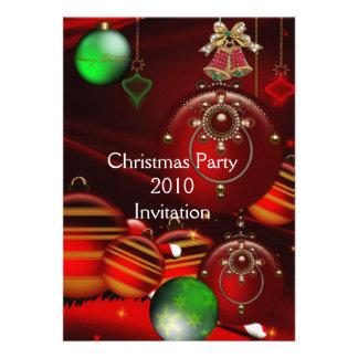 Invitation Xmas Party Christmas Red Green Balls Custom Invitation