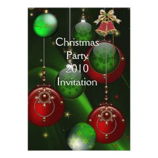 Invitation Xmas Party Christmas Red Green Balls Custom Invite