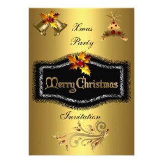 Invitation Xmas party Rich Gold Black Christmas Custom Invite