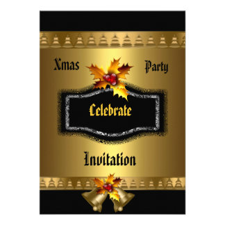 Invitation Xmas party Rich Gold Black Christmas Custom Announcements