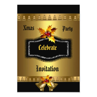 Invitation Xmas party Rich Gold Black Christmas