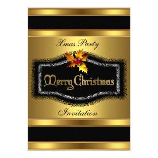 Invitation Xmas party Rich Gold Black Christmas Card