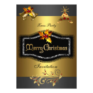 Invitation Xmas party Rich Gold Black Christmas Personalized Invitation