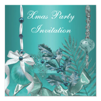 Invitation Xmas Party Teal Blue Decorations