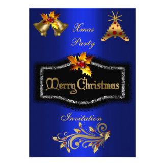 Invitation Xmas Rich Blue Gold Black Christmas Invitation
